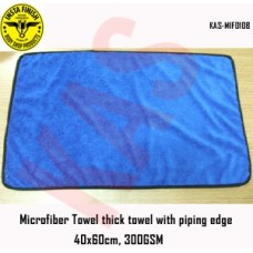Microfiber thick towel with piping edge, 40x60cm, 400GSM, Color Blue, KAS-MIF010B