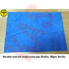 Microfiber towel with straight cutting e...