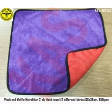 Microfiber 2-ply thick towel (2 different fabrics) 38x38cm, 650gsm, Color purple & Red, KAS-MIF102