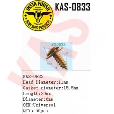 Insta Finish Universal Screw, Head Diameter:11mm Gasket diameter:15.5mm Length:20mm Diameter:6mm OEM:Universal QTY:50pcs, KAS-0833