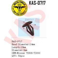 Insta Finish Blck Clip for Nissan, Head Diameter:14mm Length:18mm Diameter:9mm OEM:Nissan 76906-T3000 QTY:50pcs, KAS-0717