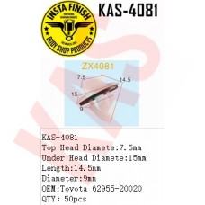 Insta Finish Clip for Toyota, Top Head Diamete:7.5mm Under Head Diamete:15mm Length:14.5mm Diameter:9mm OEM:Toyota 62955-20020  QTY:50pcs, KAS-4081