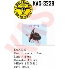 Insta Finish Clip for GM, Head Diameter:25mm Length:19mm Diameter:12.5mm OEM:GM 15056810 QTY:50pcs. KAS-3239