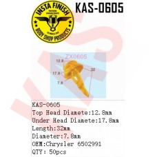 Insta Finish Clip for Chrysler, Top Head Diamete:12.8mm Under Head Diamete:17.8mm Length:32mm Diameter:7.8mm OEM:Chrysler 6502991  QTY:50pcs. KAS-0605
