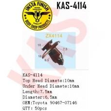 Insta Finish Blck Clip for Toyota, Top Head Diamete:10mm Under Head Diamete:16mm Length:7.5mm Diameter:6.5mm OEM:Toyota 90467-07146 QTY:50pcs, KAS-4114
