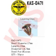 Insta Finish Clip for Nissan, Head Diamete:17mm Length:20mm Diameter:14.5mm Used For:Nissan QTY:50pcs, KAS-0471