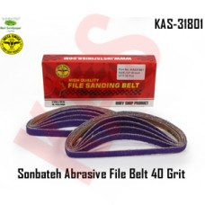 Sonbateh Ceramic Purple Abrasive File Belt 1/2 in x 18 in 40 Grit, Set of 10, KAS-31801
