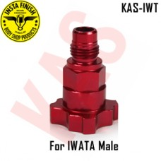 Instafinish Adaptor for IWATA guns, Male Thread, Color Red, KAS-IWT