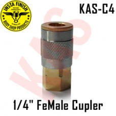 "Instafinish C4 Air Hose FeMale Quick Disconnect Coupler Automotive Standard Series, Type C, 1/4"" NPT, Steel, KAS-C4"