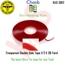 Instafinish Chasb Acrylic Transparent Attachment Tape,1/2inx30 yd, Clear, KAS-3612